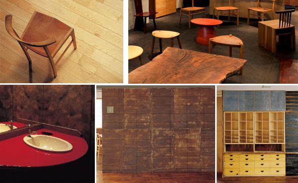 漆・木・和紙を使った木曽アルテック社の家具・建具類・仕上げ材